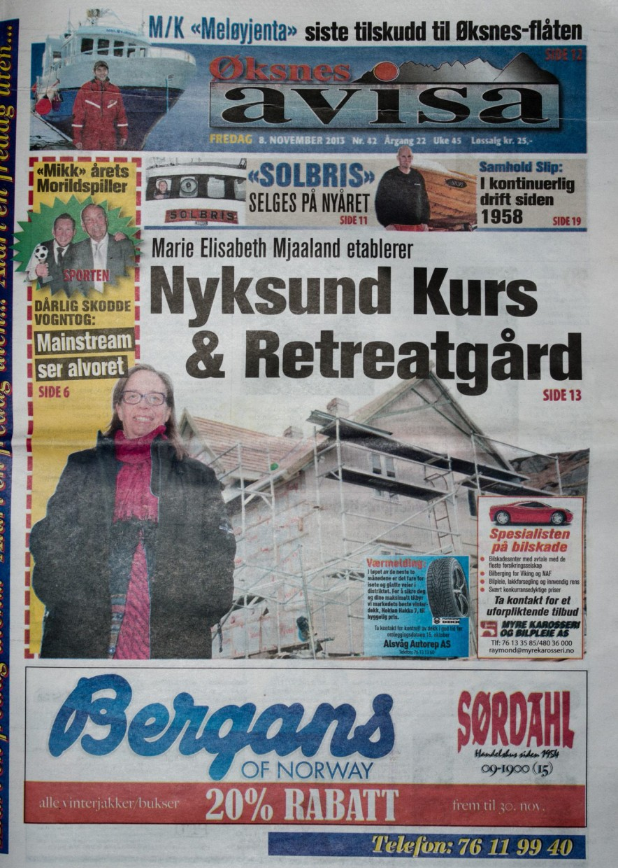 Øksnesavisa 2013-11-08 forside