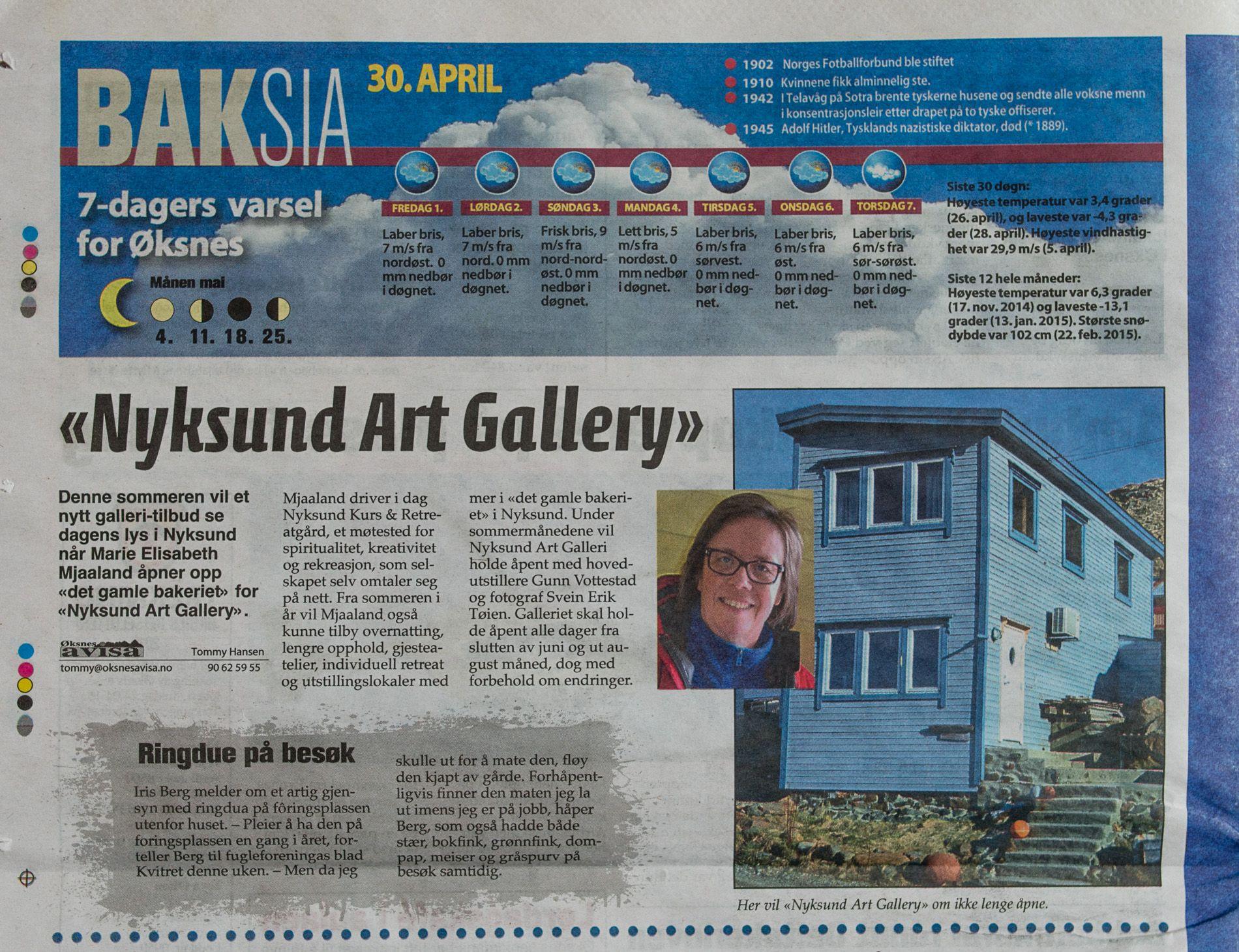Øksnesavisa 2015-04-30 Nyksund Art Gallery
