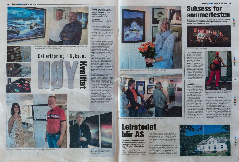 Øksnesavisa 2015-06-26 Åpning av kunstgallerier